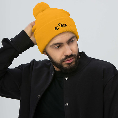 BIKER X Luminescent NEON Orange Embroidered Pom-Pom Beanie Hat