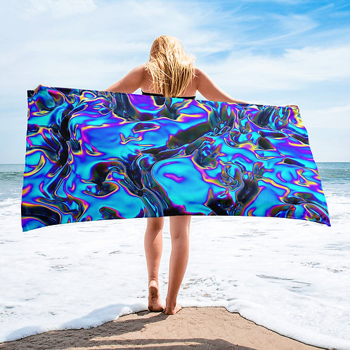 """Sublimated Premium Towel  """"Holographic Blue Flame"""" Collection"""