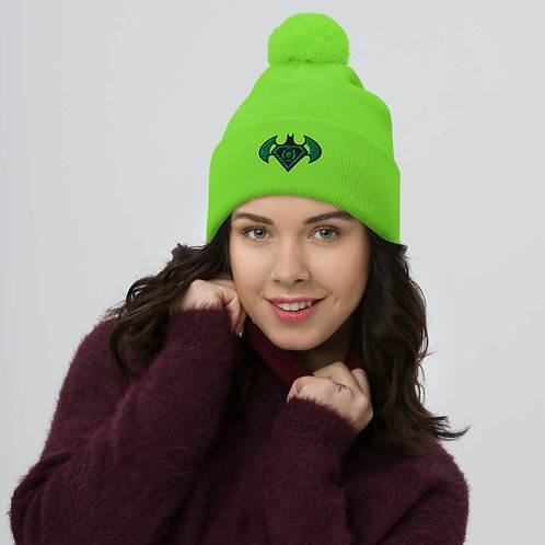 O.G. STEAMPUNK  Luminescent NEON Green Bat Symbol Embroidered Pom-Pom Beanie Hat