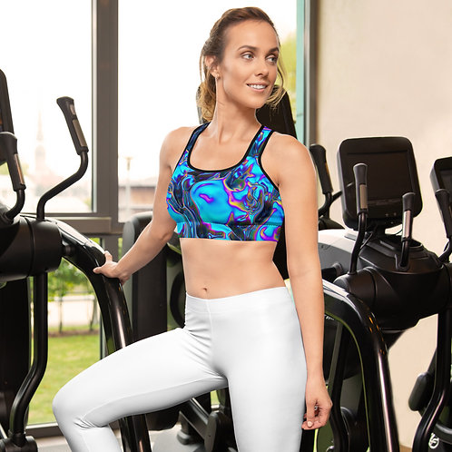 """Sports Bra  """"Holographic Blue Flame"""" Collection"""