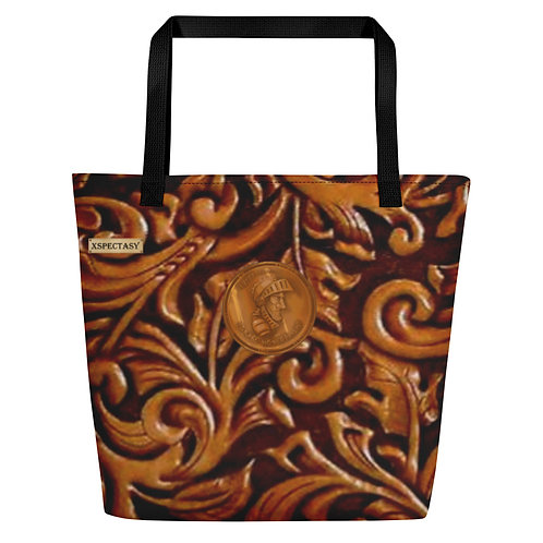 """O.G. STEAMPUNK """"Wild Wild West"""" Tooled Leather Carry Travel Shoulder Bag 20x16in"""