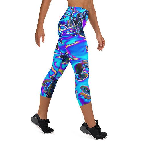 "Yoga Capri Leggings ""Holographic Blue Flame"" Collection"