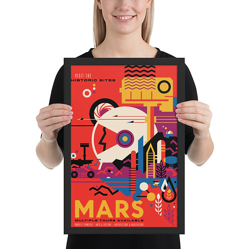 """NASA X Mars Rover """"Historic Tours"""" Framed Premium Luster Poster"""