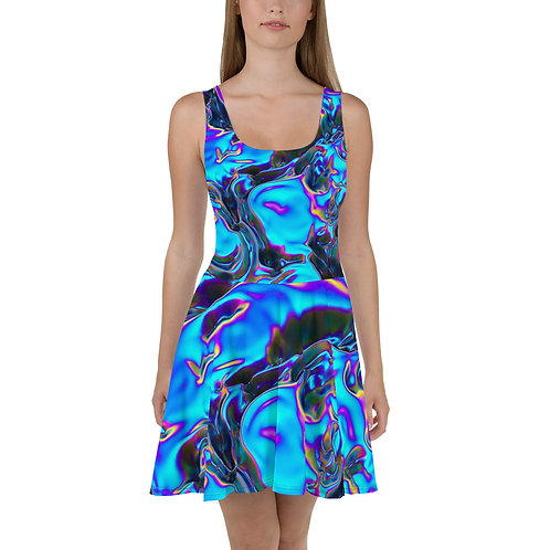 """Skater Dress """"Holographic Blue Flame"""" Collection"""
