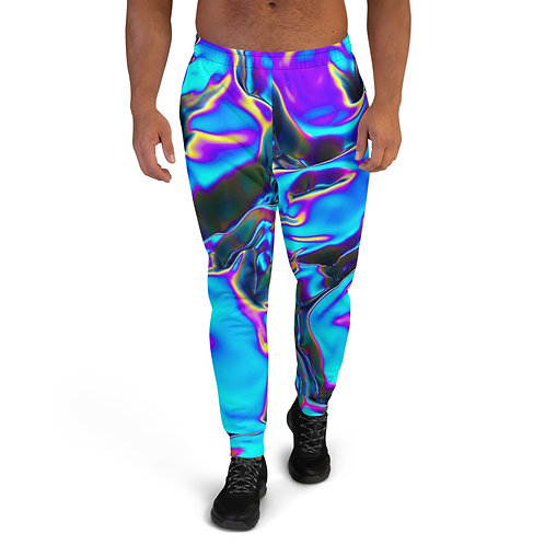 """Mens Jogging Work Out Sweat Pants Joggers """"Holograhic Blue Flame"""" Collection"""