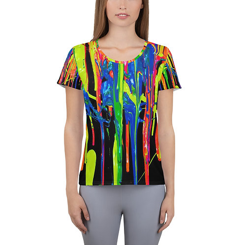"Women's Athletic T-shirt ""Dripping Wet Paint"" Collection"