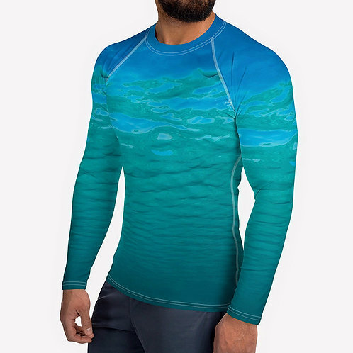 "TREKK X ® Offshore ""Salty Life"" Fishing Camo Ocean Water Men's Rash Guard"