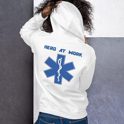 "MEDX Professionals ""Hero At Work"" Long Sleeve White Cotton Unisex Hoodie"