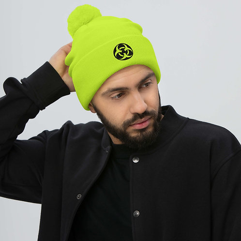 BIO X  Luminescent NEON Embroidered Pom-Pom Beanie Hat