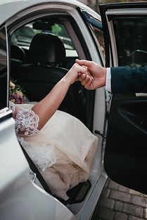 Groom give hands bride out from wedding