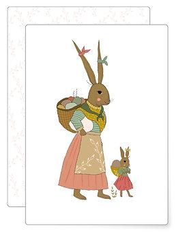 Hasenfamilie   Postkarte