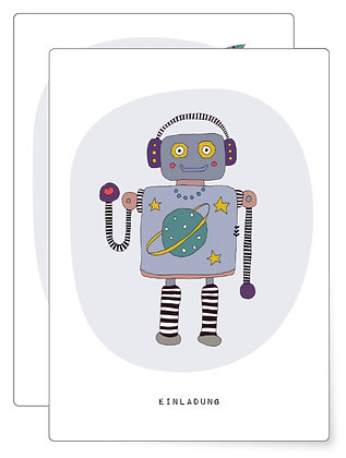 Einladung Robo   Postkarten SET