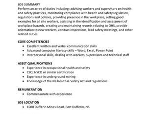 Maritime Dufferin Gold Corp - Health & Safety Advisor