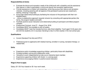 Lake & Shore Community Recreation Centre - Inclusion Summer Camp Instructor