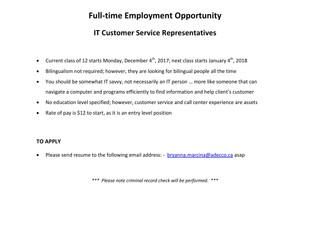 Adecco - IT Customer Service Representatives