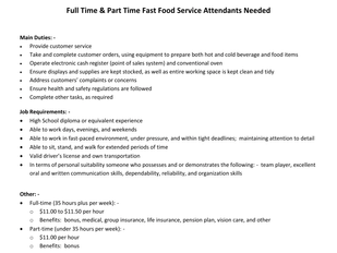 Wilson's - Full & Part Time Fast Food Service Attenants