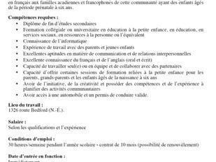 Centre Provincial de Ressources Préscolaires - Responsable des services et programmes de La Pirouett