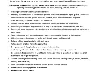 Local Source Market – Shop Supervisor