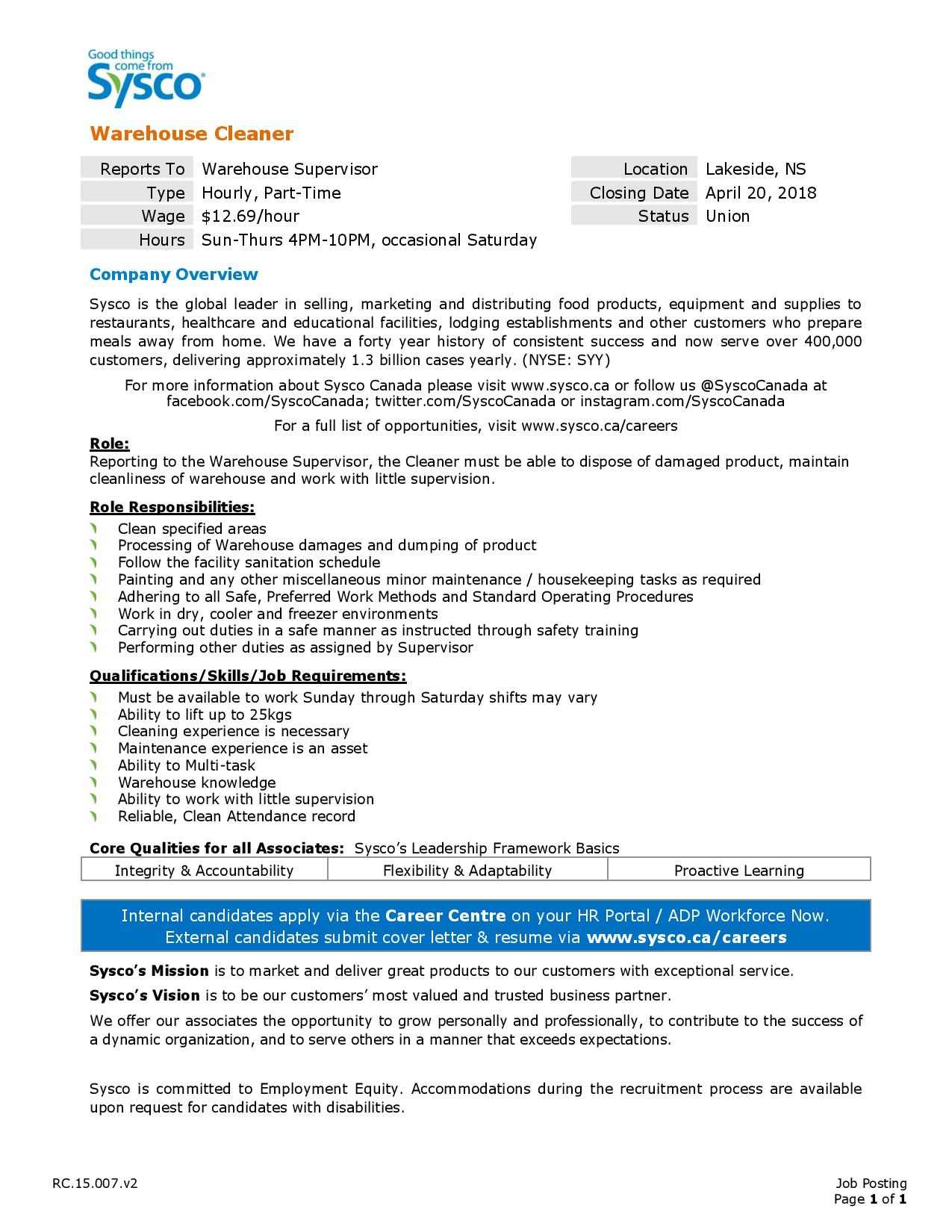 Sysco - Warehouse Cleaner | Opportunity Place Resource Center