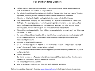 CleanMark - FT and PT Cleaners