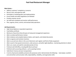 Wilson's - Fast Food Restaurant Manager