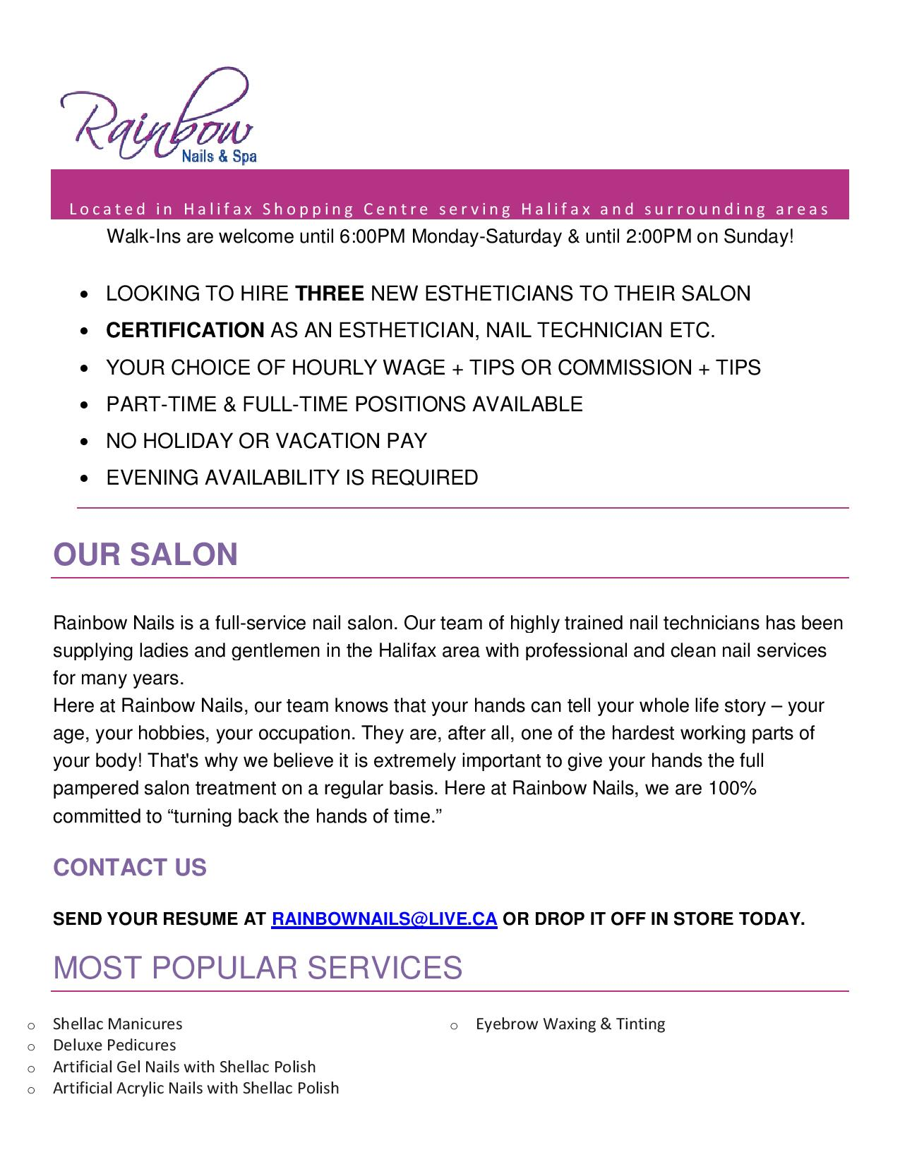 Rainbow Nails & Spa - Estheticians | Opportunity Place