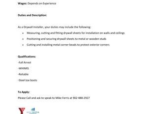 Private Employer - Drywall Installer