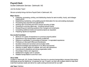 Scotian Distribution Services - Payroll Clerk