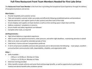 Tim Hortons (First Lake Drive) - FT Restaurant Front Team Members
