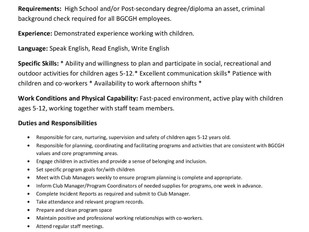Boys & Girls Clubs of Greater Halifax - After School Program Leaders (Sackville and Spryfield)