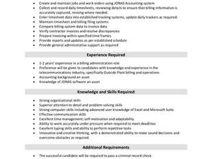 VistaCare Communications - Billing Clerk