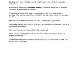 Veinotte's Truck & Auto Services - Equipment Operators