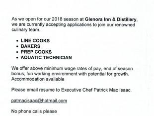 Glenora Inn & Distillery (Mabou) - Various Roles