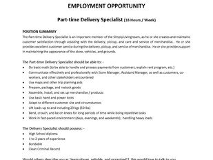 Simply Living – Part-time Delivery Specialist
