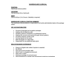 UPS - Warehouse Clerical Position