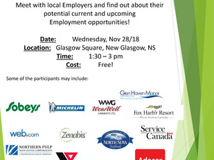 NS Works Career Connections (Pictou County) and ISANS - Employer Information Session / Job Fair, Nov