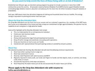 National Diabetes Trust - Drop Box Attendant
