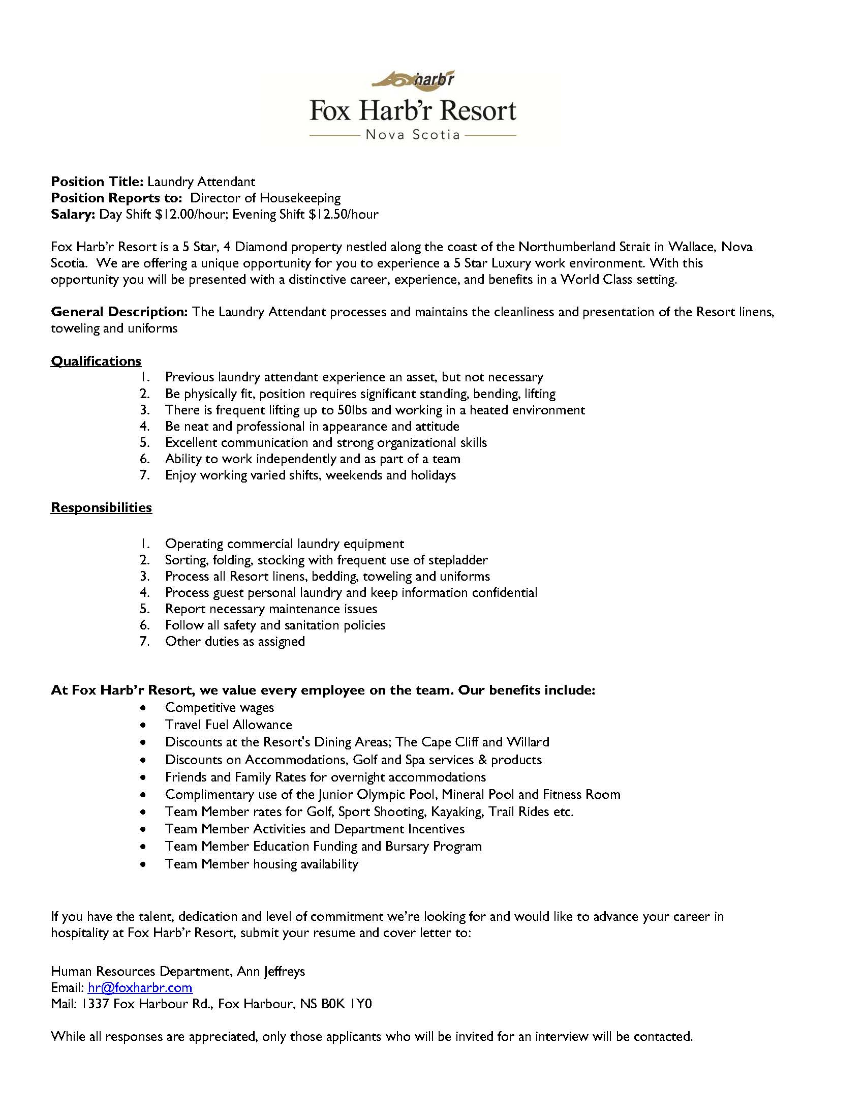 Fox Harb\'r Resort - Laundry Attendant | Opportunity Place Resource ...