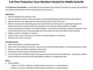 Tim Hortons (Middle Sackville) - FT Production Team Members