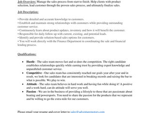 Adventure Motors - Powersport & Marine Sales Professional
