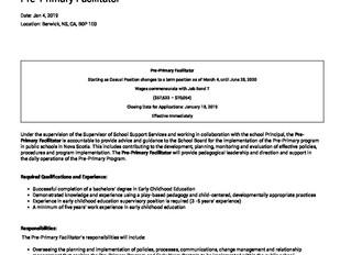 Annapolis Valley Regional School Board - Pre-Primary Facilitator (Berwick)