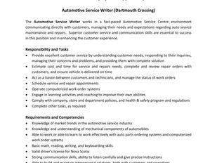 Canadian Tire - Automotive Service Writer (Dartmouth Crossing)