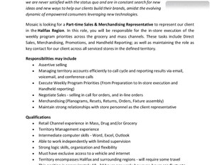 Mosaic - Sales & Merchandising Representative