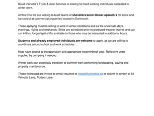 Veinotte's Truck & Auto Services - Shovellers/Snow Blower Operators