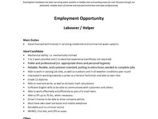 Rockingham Hardware - Labourer/Helper