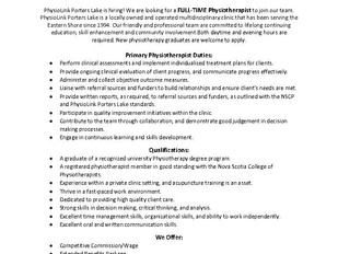 PhysioLink Porters Lake - Full-Time Physiotherapist