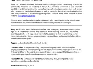 Phoenix - Youth Worker, Phoenix Youth Shelter (2 Positions)