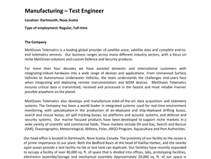 MetOcean Telematics - Manufacturing Test Engineer
