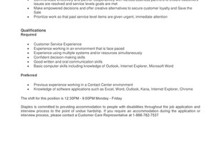 STAPLES - Operations Support Representative (9 Positions)