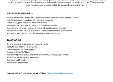C&S Kitchens (Head of Chezzetcook) - Cabinet Installer/Maker, or Carpenter (Full & Part Time